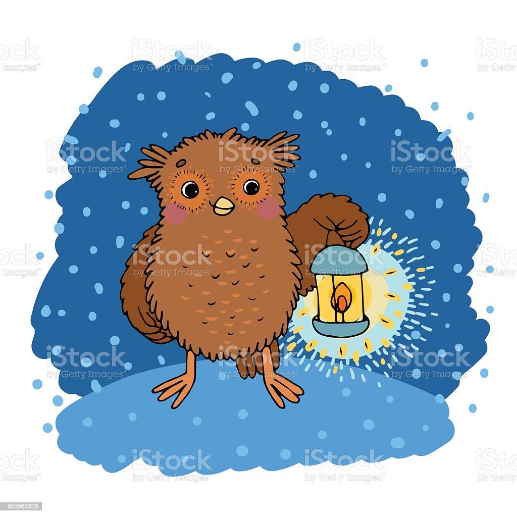 Cute cartoon Owl vector art illustration