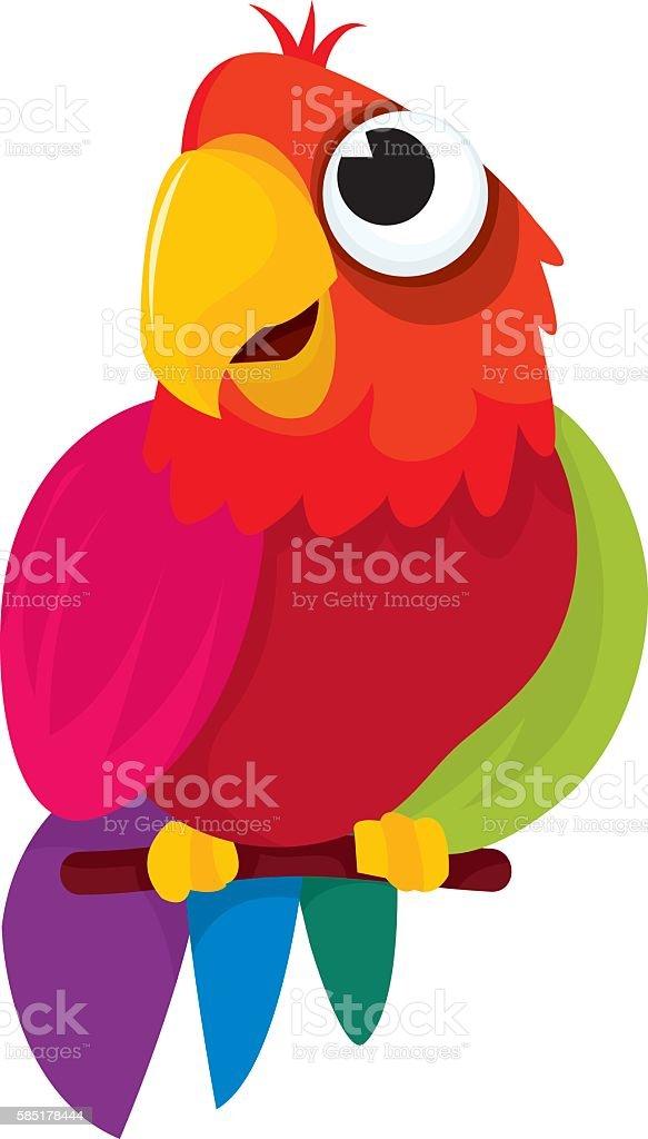 Cute Cartoon Parrot vector art illustration