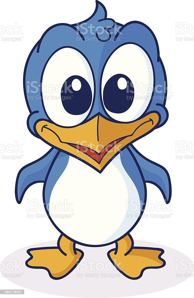 Cute Cartoon Penguin vector art illustration