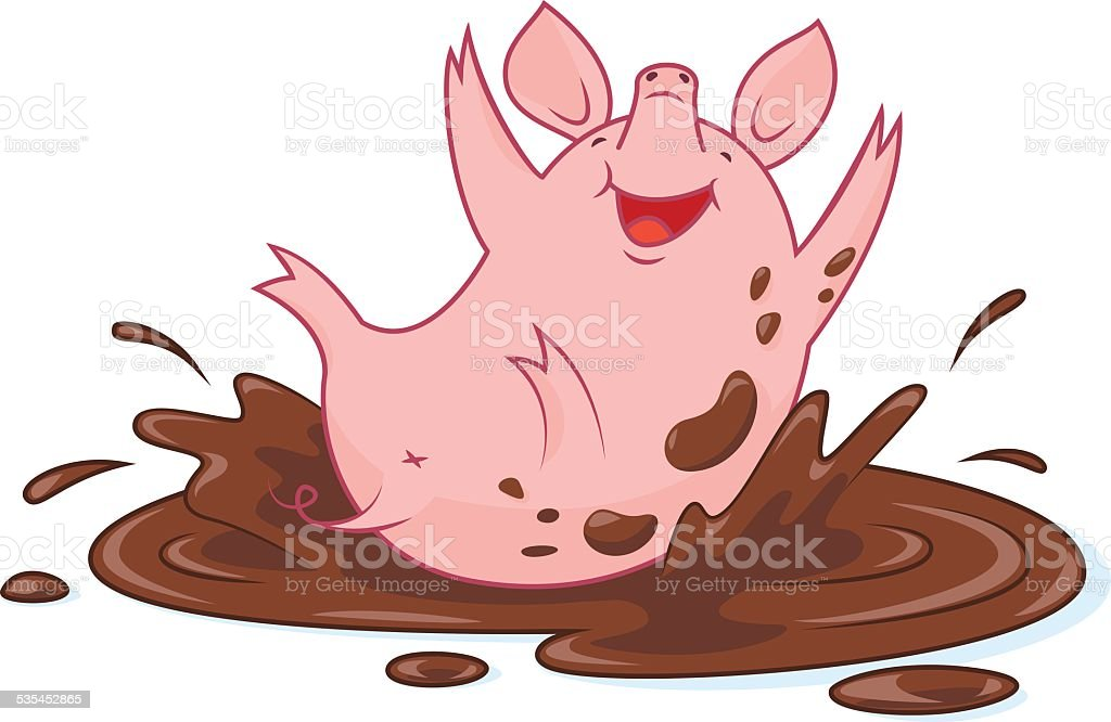 Cute cartoon pig playing in a mud puddle vector art illustration