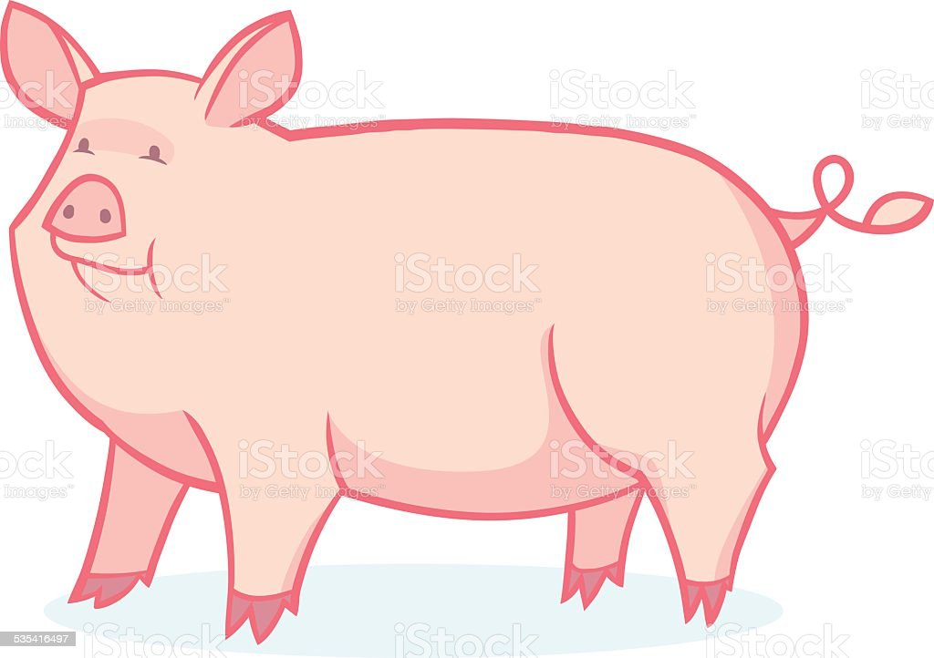 Cute cartoon pig vector art illustration