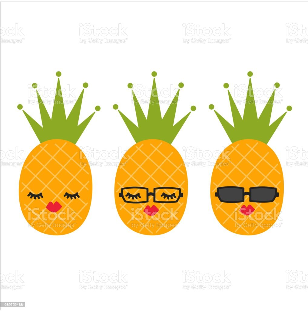 cute cartoon pineapples vector set illustration vector art illustration