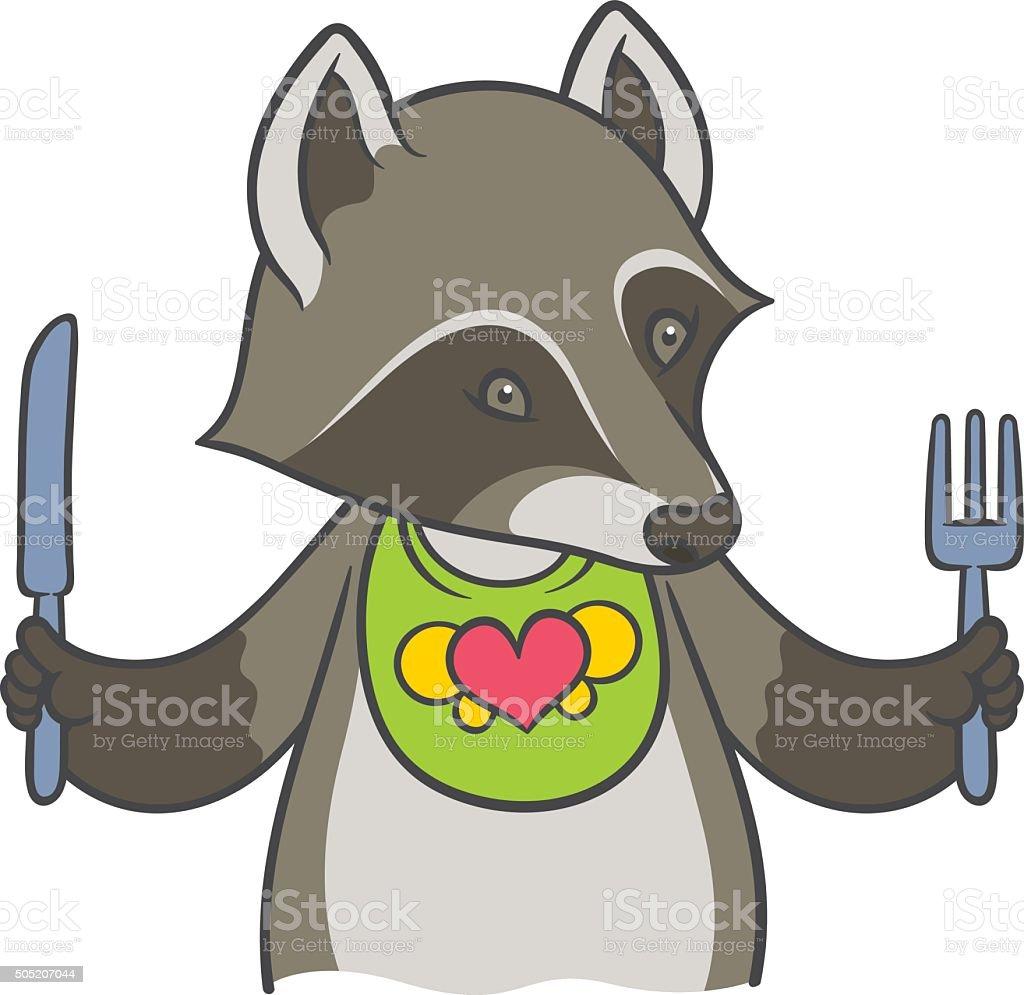 Cute cartoon raccoon holding a knife and fork vector art illustration