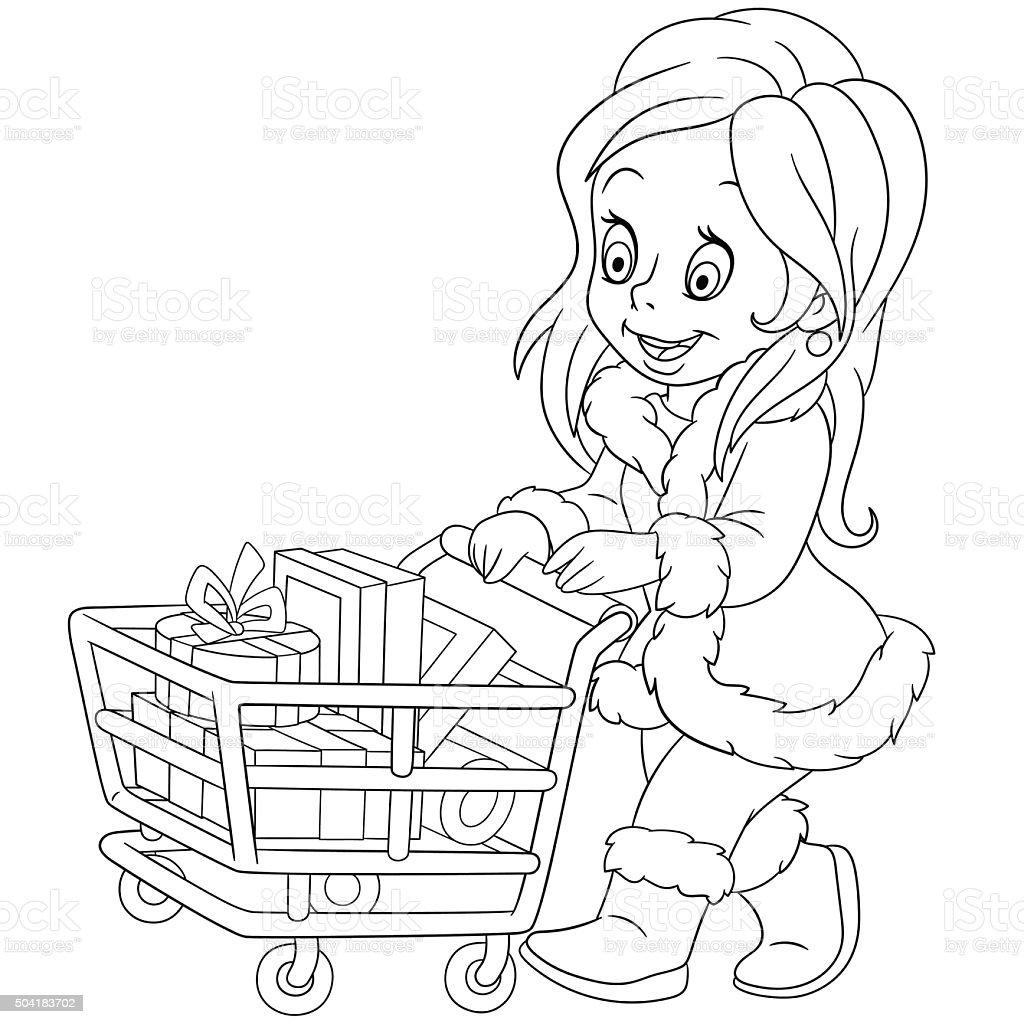 cute cartoon shopaholic girl on the sale vector art illustration