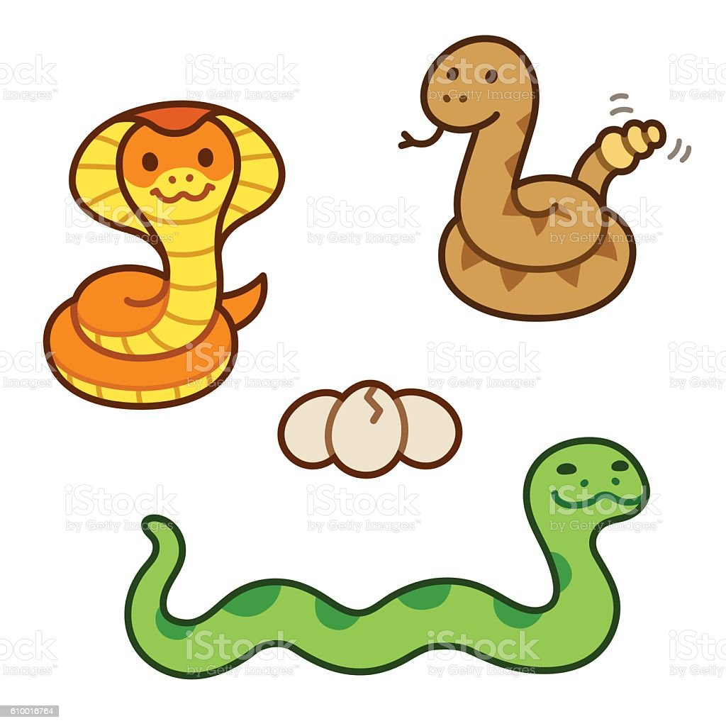 Cute cartoon snakes set vector art illustration