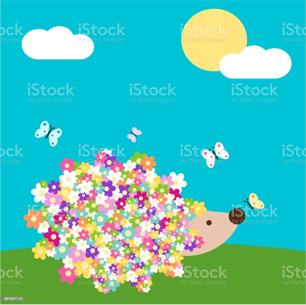 Cute Cartoon Spring Hedgehog With Daisy Flowers In The Meadow Vector