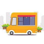Cute cartoon street food vending cart vector illustration.