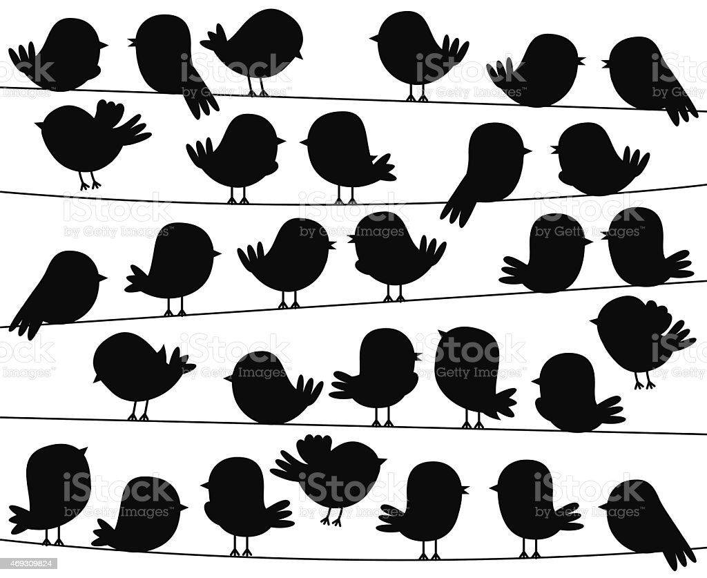 Cute Cartoon Style Bird Silhouettes in Vector Format vector art illustration