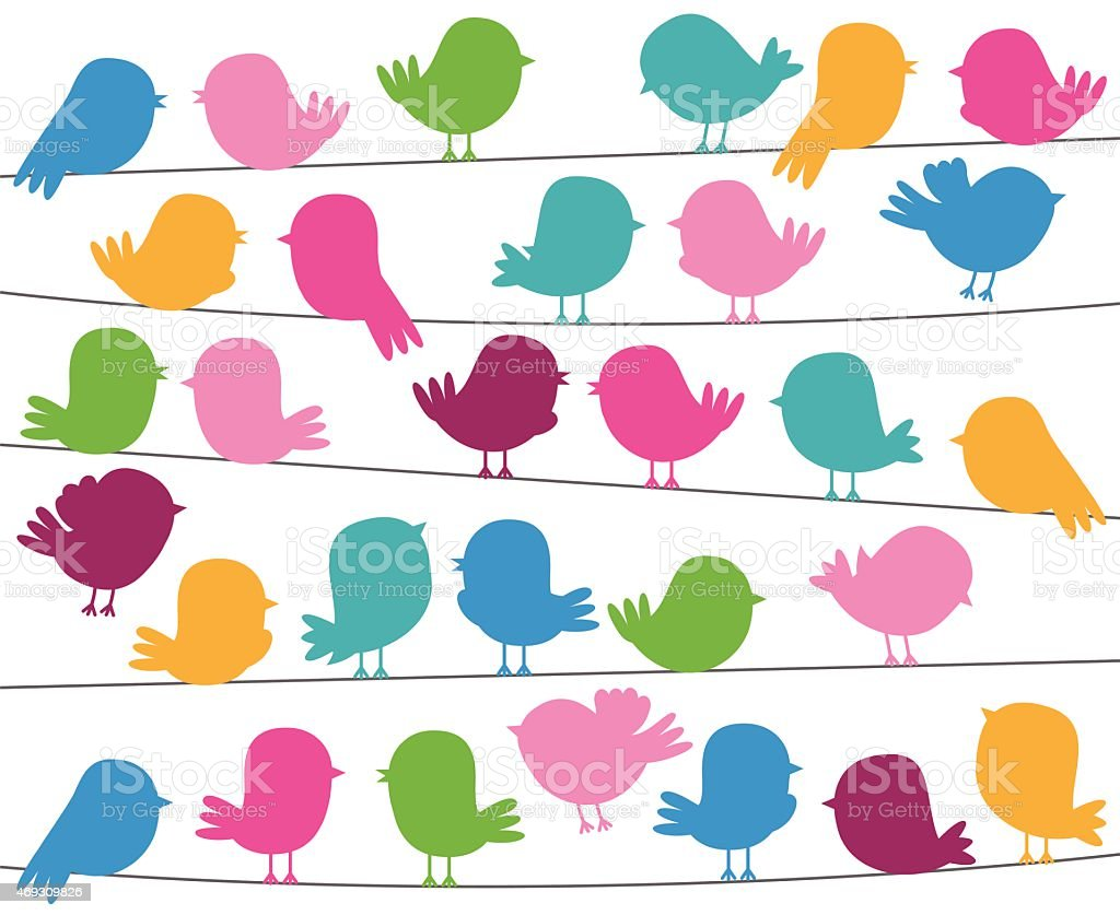 Cute Cartoon Style Bird Silhouettes in Vector Format vector art illustration