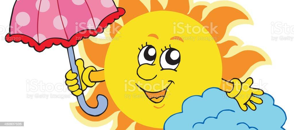 Cute cartoon Sun with umbrella royalty-free stock vector art