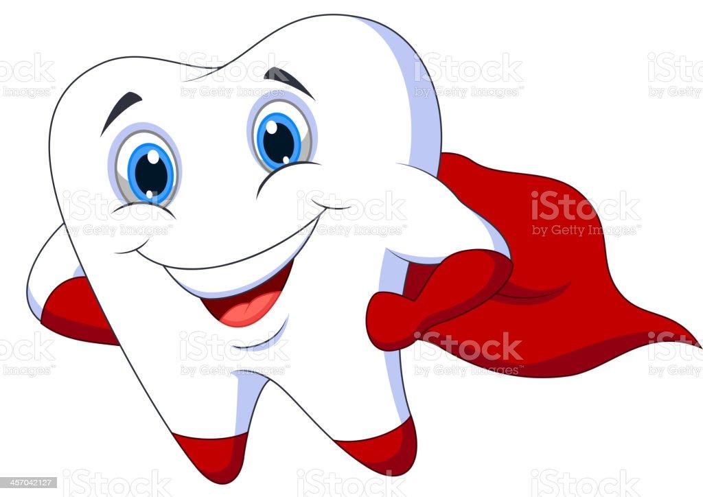 Cute cartoon superhero tooth posing vector art illustration