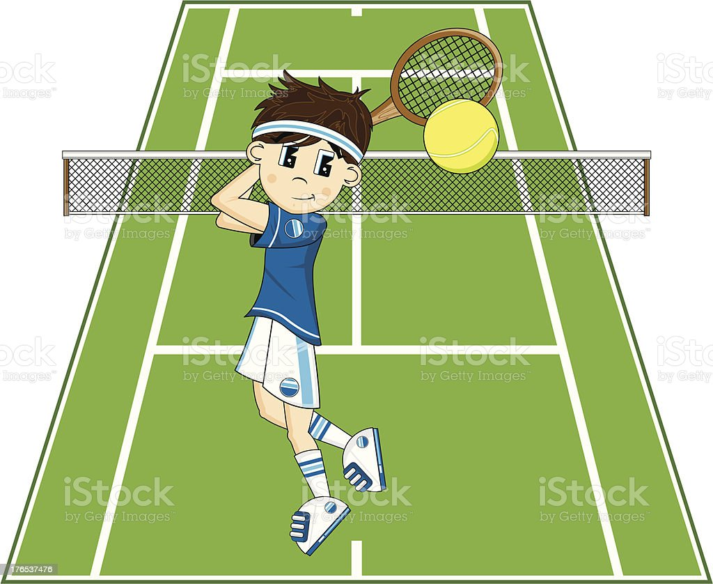 Cute Cartoon Tennis Boy royalty-free stock vector art