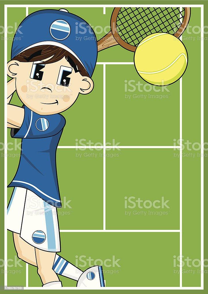 Cute Cartoon Tennis Boy royalty-free stock vector art