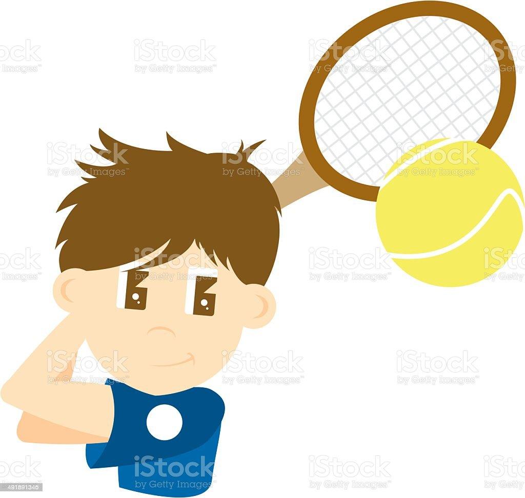 Cute Cartoon Tennis Boy vector art illustration