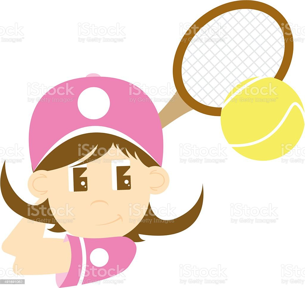 Cute Cartoon Tennis Girl vector art illustration
