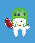 Cute cartoon tooth character wearing American Football  hat.