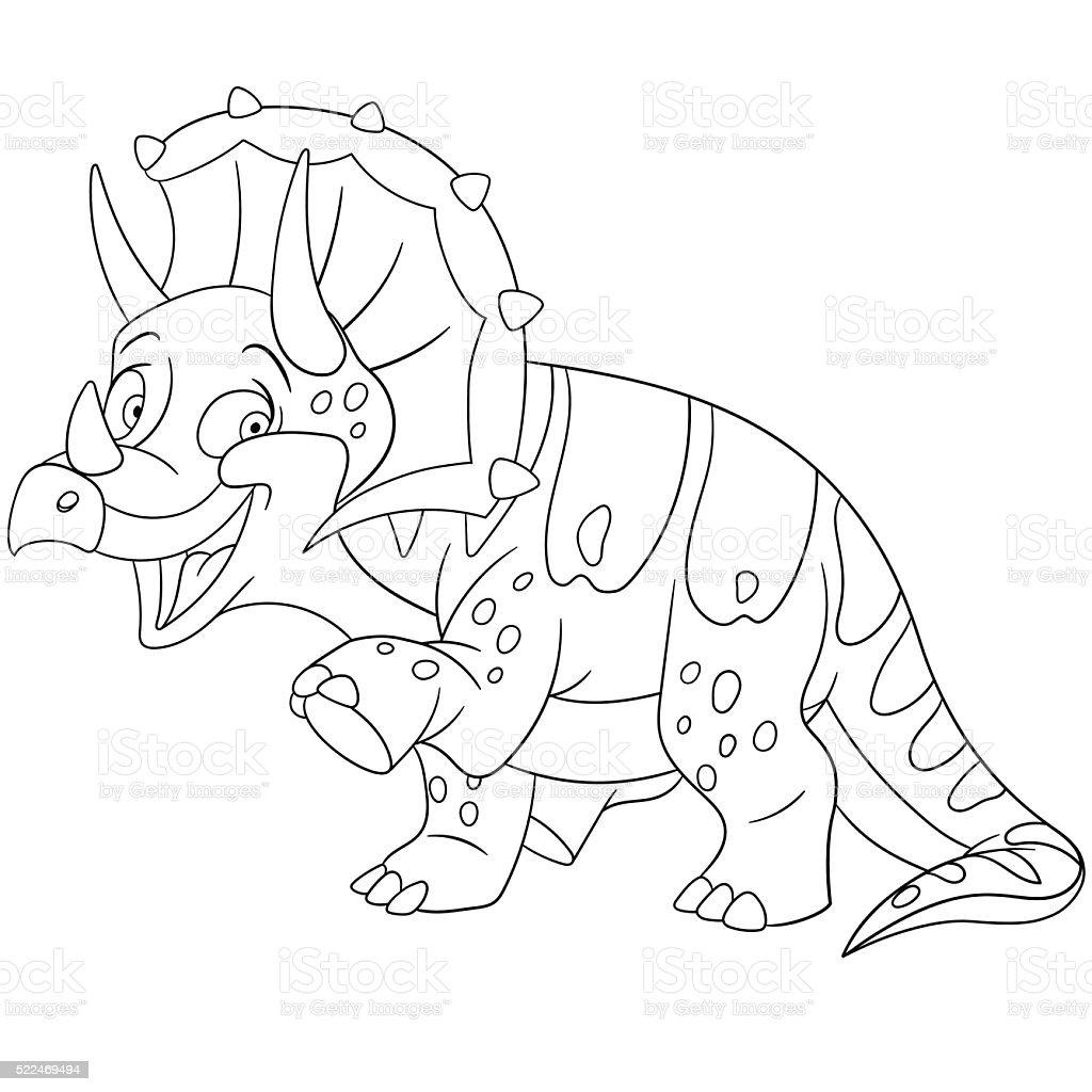 cute cartoon triceratops vector art illustration