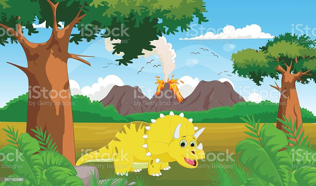 cute cartoon Triceratops with volcano background vector art illustration