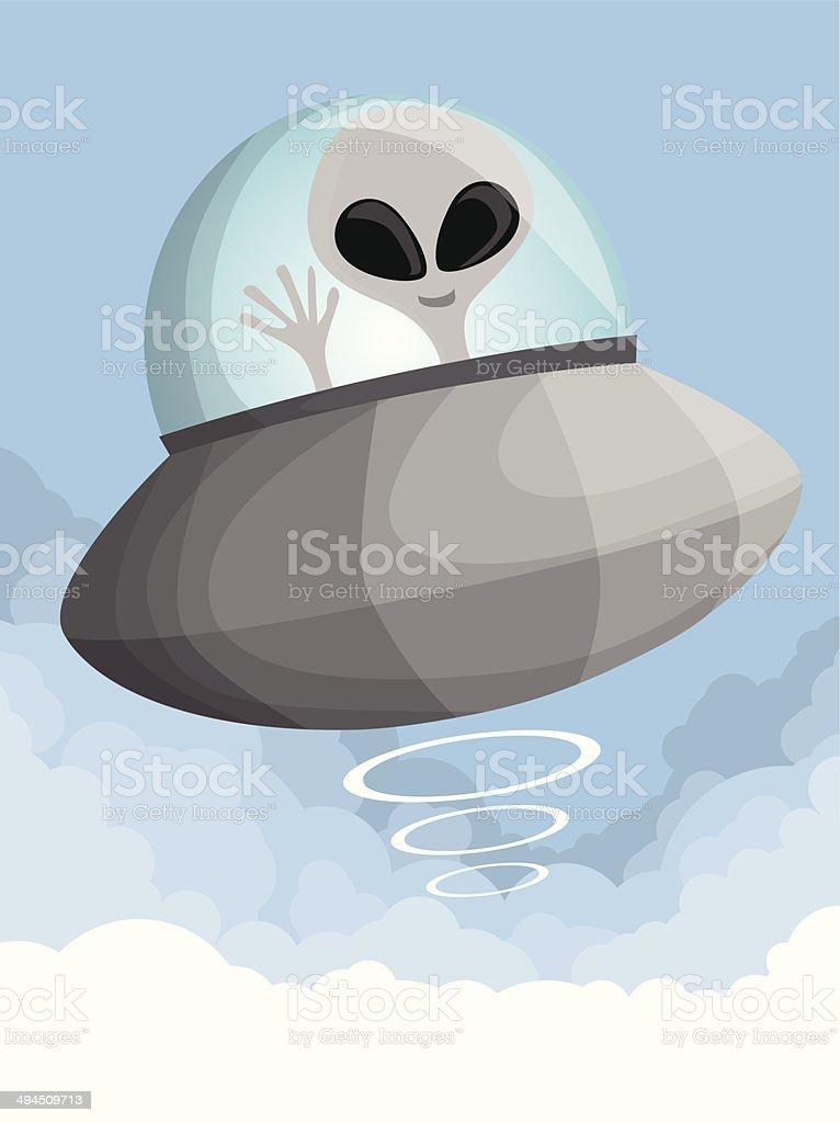 Mignon dessin OVNI dans le ciel stock vecteur libres de droits libre de droits