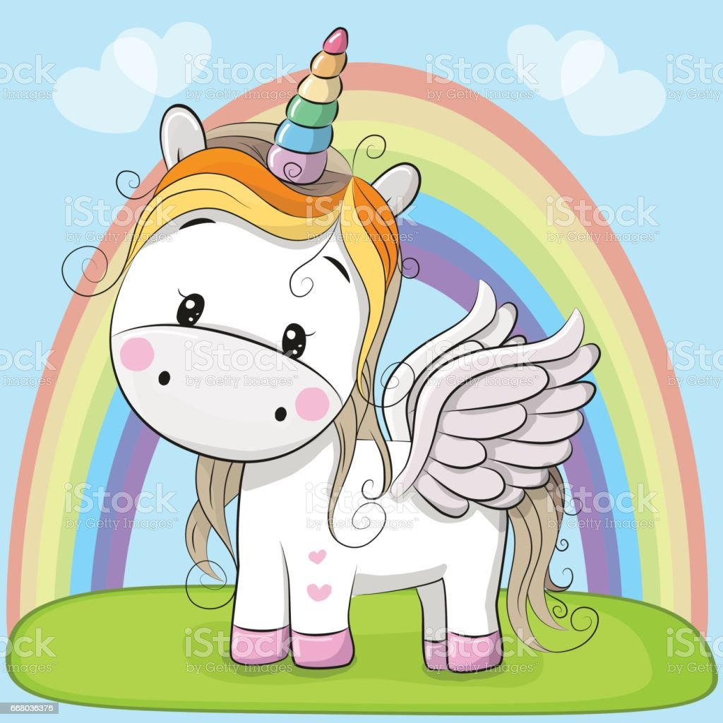 Cute Cartoon Unicorn On The Meadow stock vector art ...