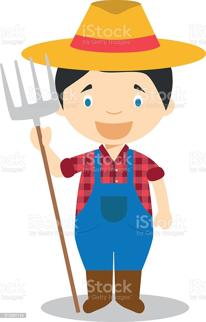 Cute cartoon vector illustration of a farmer vector art illustration