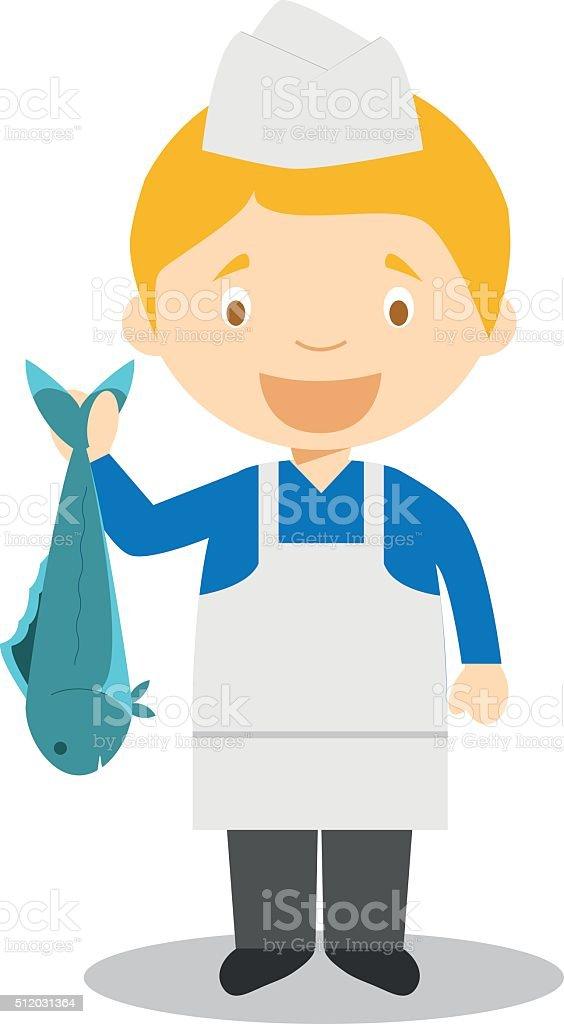Cute cartoon vector illustration of a fishmonger vector art illustration