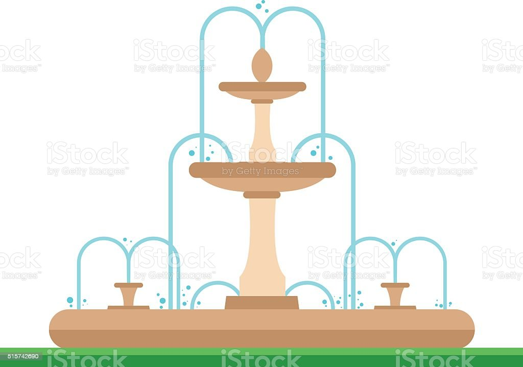 Cute cartoon vector illustration of a fountain in the park vector art illustration