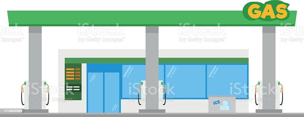 Cute cartoon vector illustration of a gas petrol station vector art illustration
