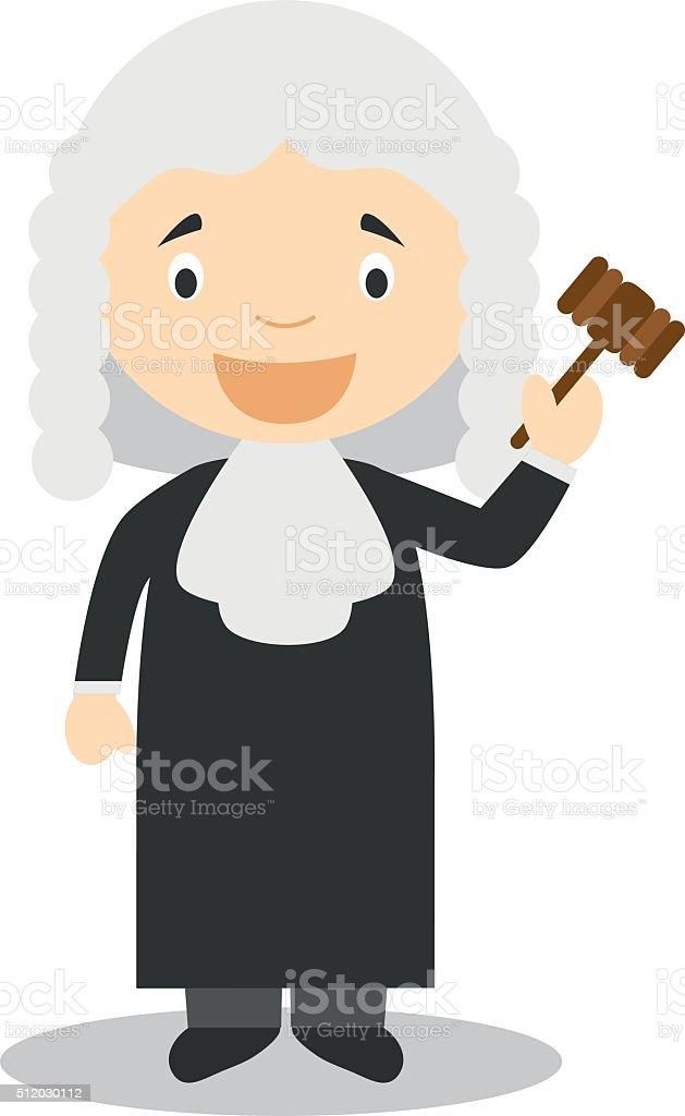 Cute cartoon vector illustration of a judge vector art illustration