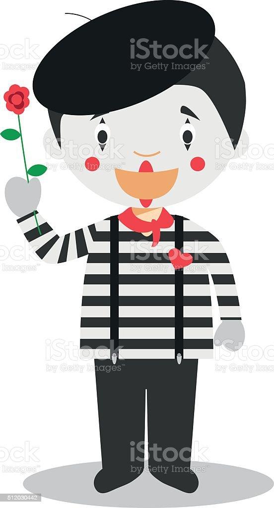 Cute cartoon vector illustration of a mime vector art illustration