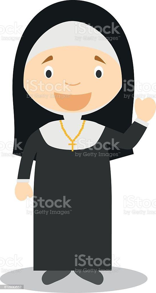Cute cartoon vector illustration of a nun vector art illustration