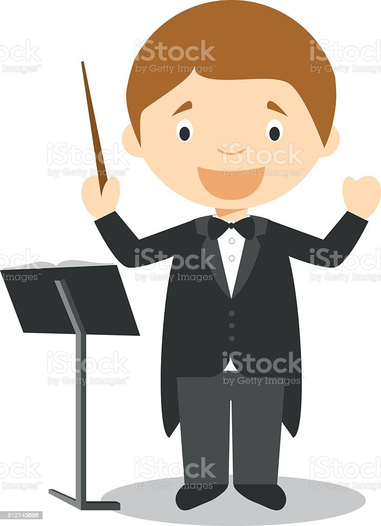 Cute cartoon vector illustration of a orchestra director vector art illustration