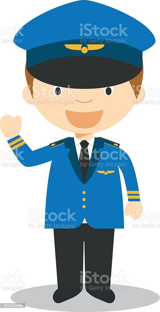 Cute cartoon vector illustration of a pilot vector art illustration