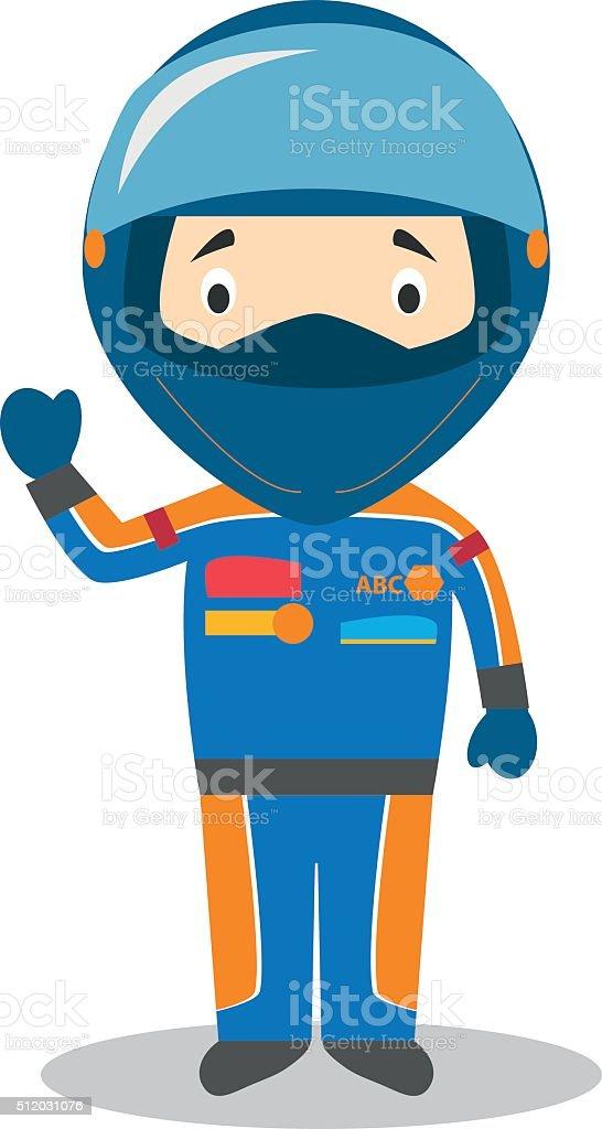Cute cartoon vector illustration of a race pilot vector art illustration