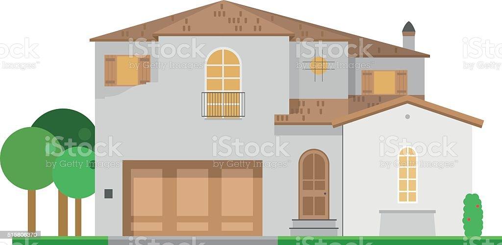 Cute cartoon vector illustration of a residential villa vector art illustration