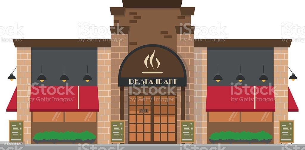 Cute cartoon vector illustration of a restaurant vector art illustration