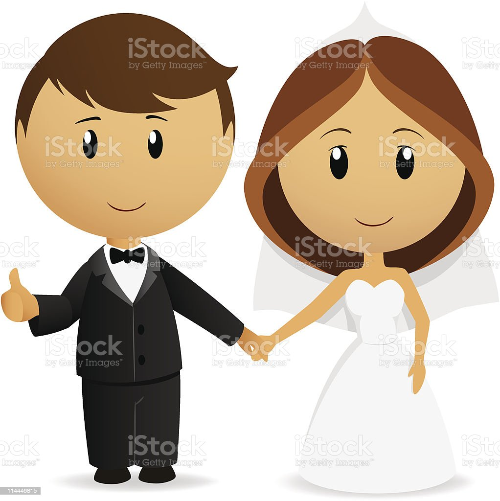 Cute cartoon wedding couple holding hand royalty-free stock vector art