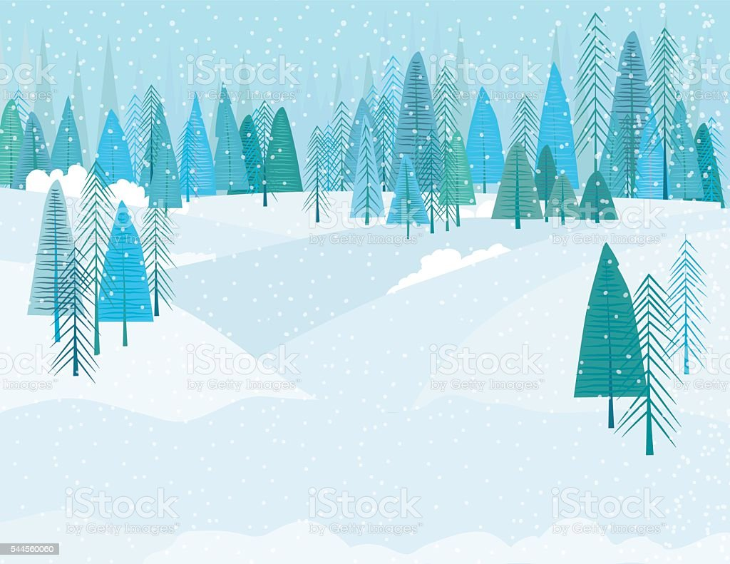 Cute Cartoon Winter Forest In A Snowstrom vector art illustration