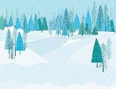 Cute Cartoon Winter Forest In A Snowstrom