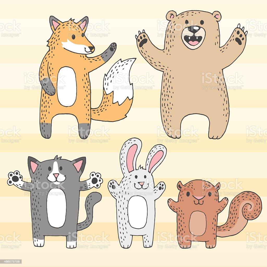 Cute Cartoon Woodland Creatures vector art illustration