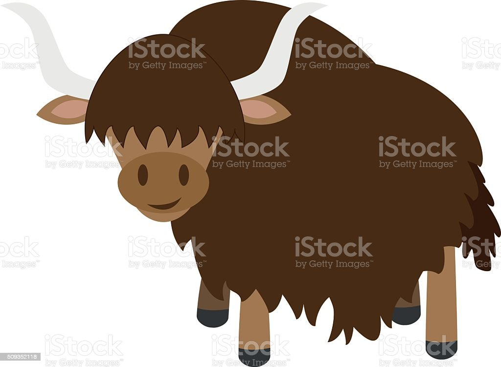 Cute cartoon yak vector illustration vector art illustration