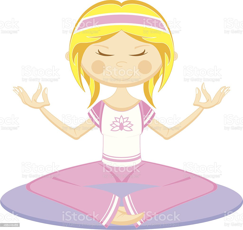 Cute Cartoon Yoga Girl on Mat royalty-free stock vector art