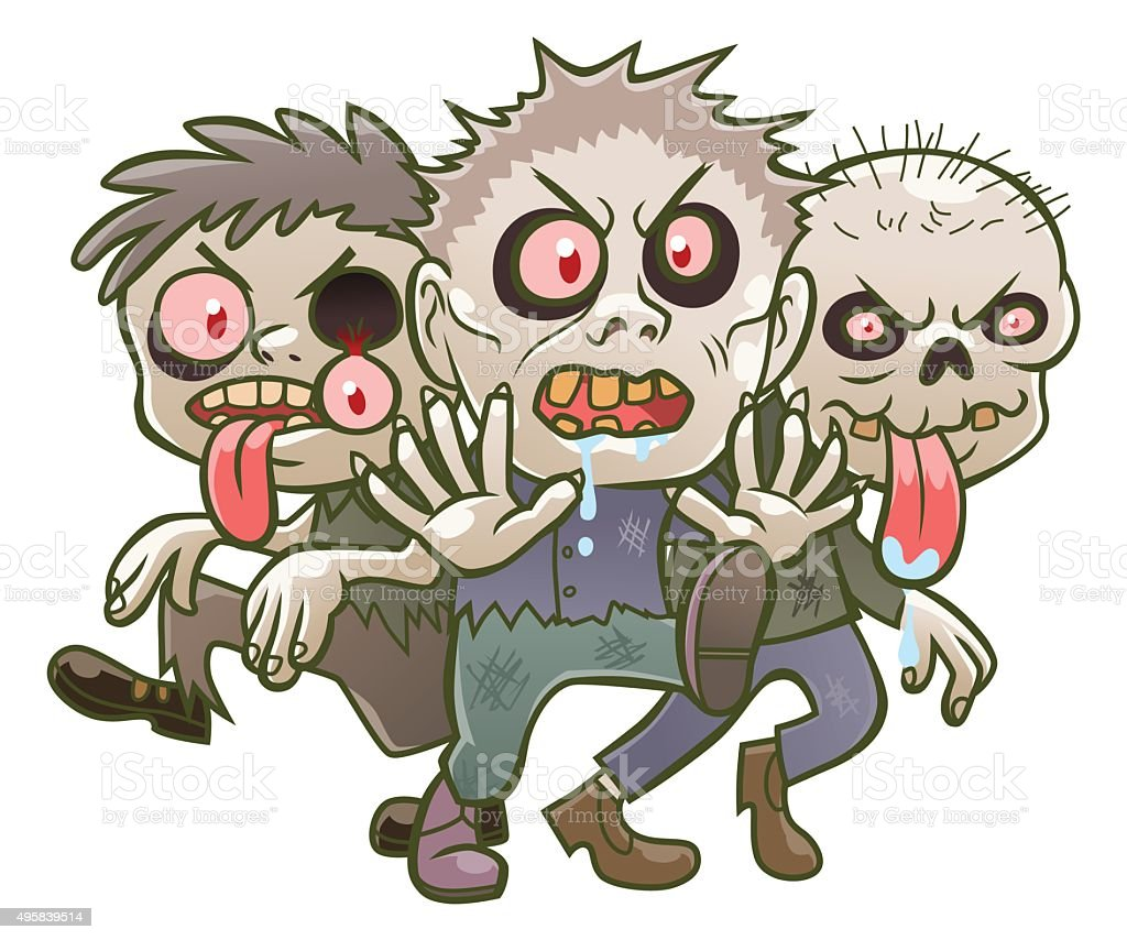 Cute cartoon zombies vector art illustration
