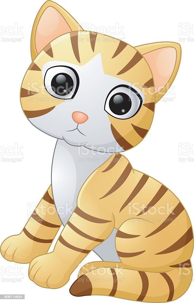 Cute cat cartoon vector art illustration