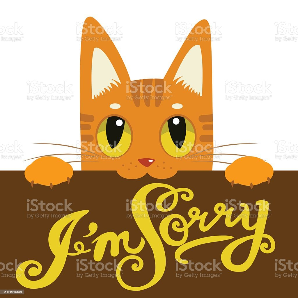 Cute Cat Holding A Message Board I'm Sorry. vector art illustration