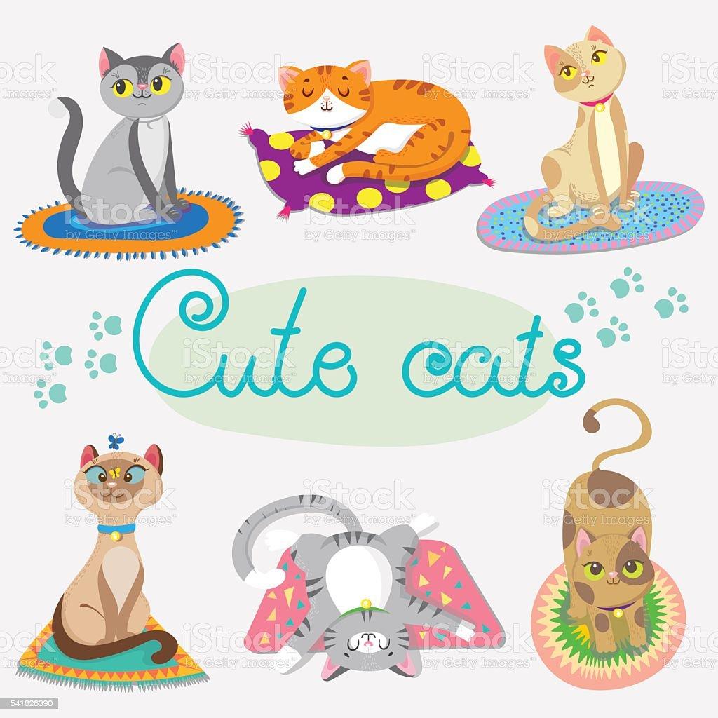 cute cat on rugs vector art illustration