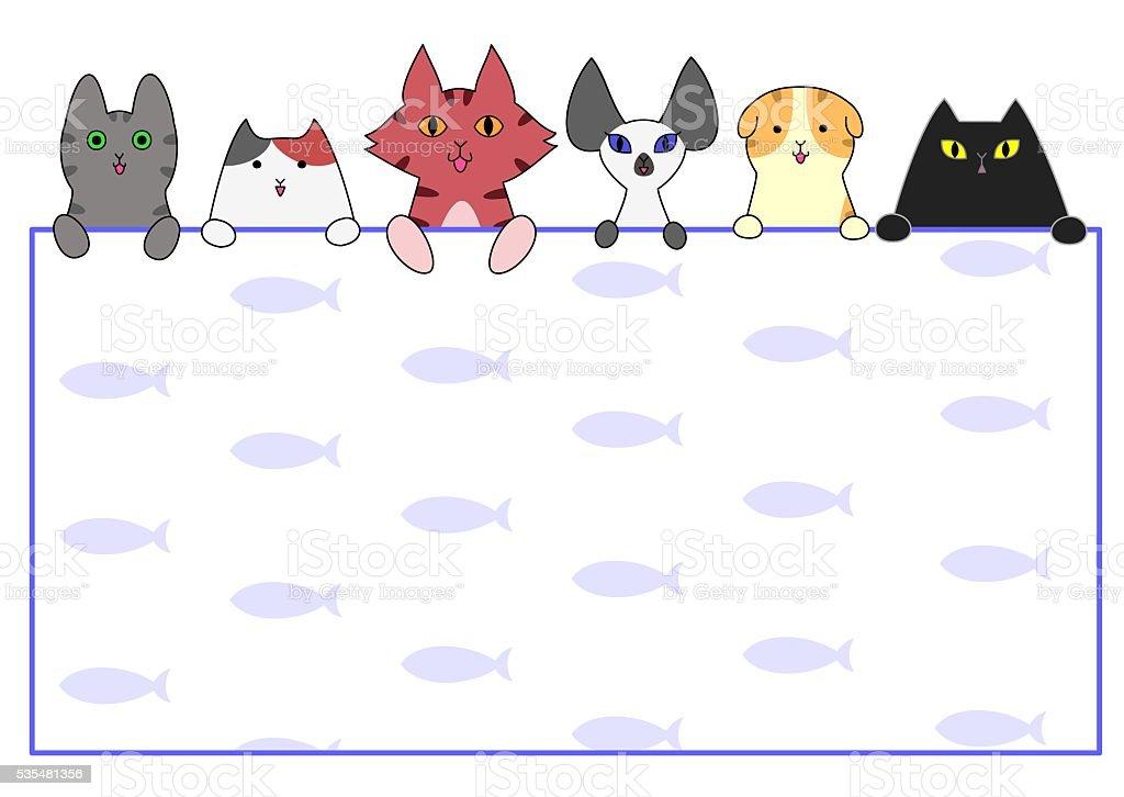 Cute cats card vector art illustration