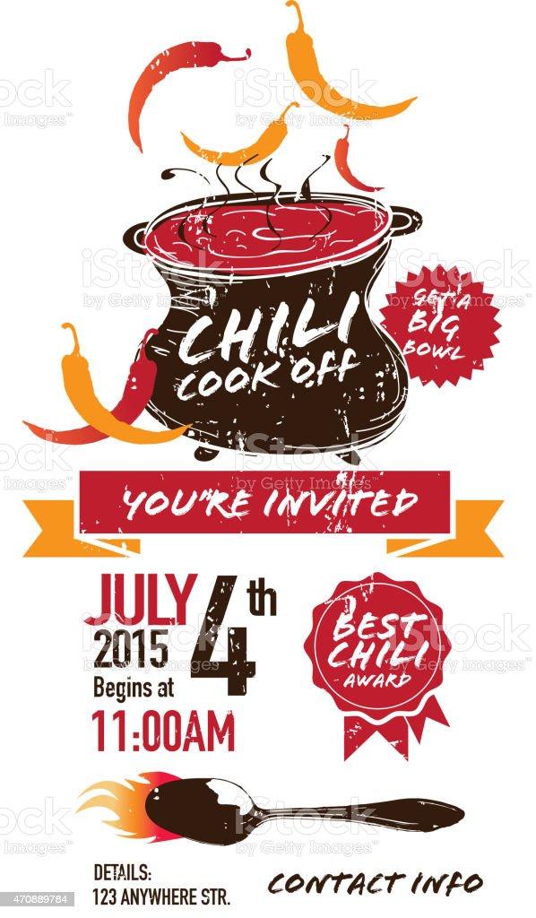Cute cauldron brown orange Chili cookoff invitation design vector art illustration