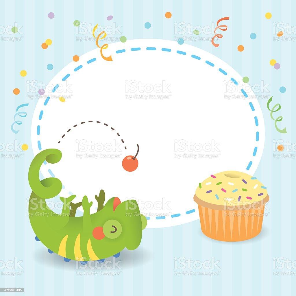 Cute chameleon birthday card boy royalty-free stock vector art