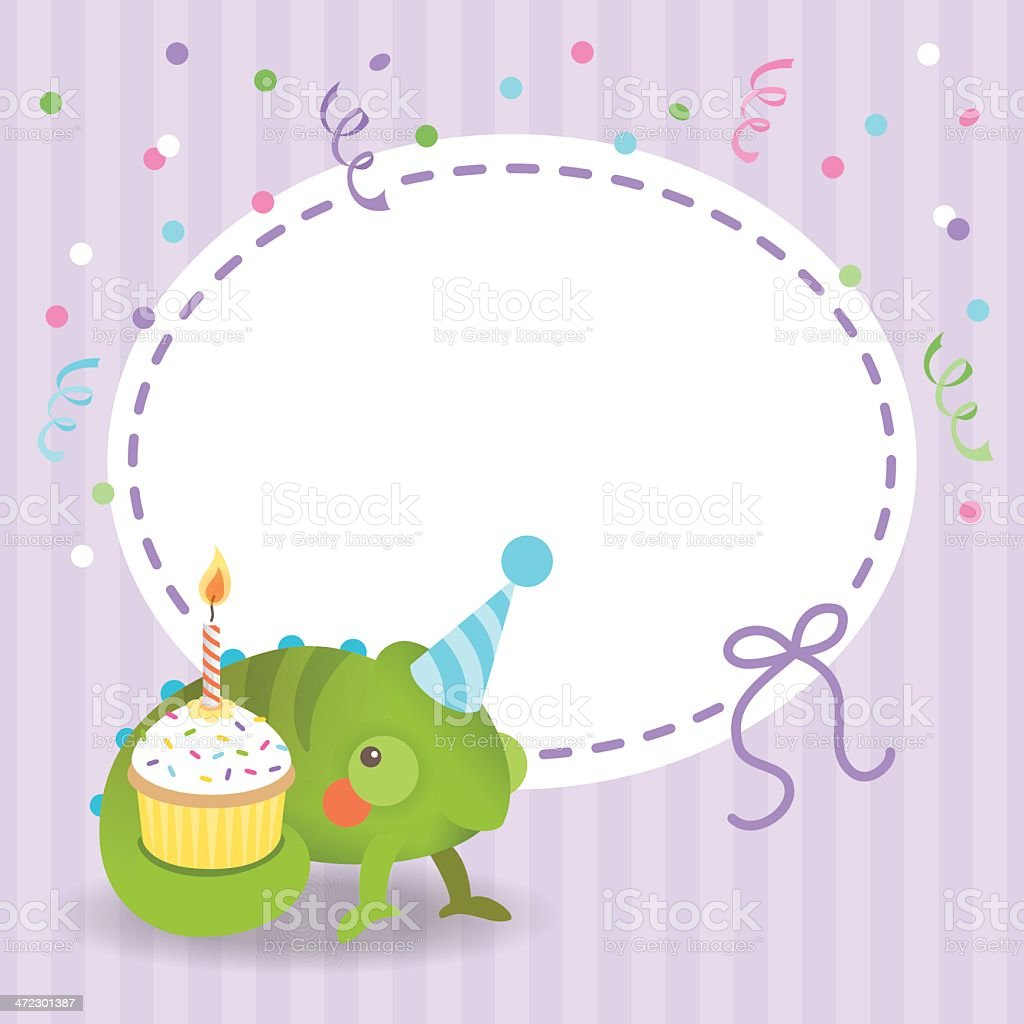 Cute chameleon birthday card cupcake royalty-free stock vector art